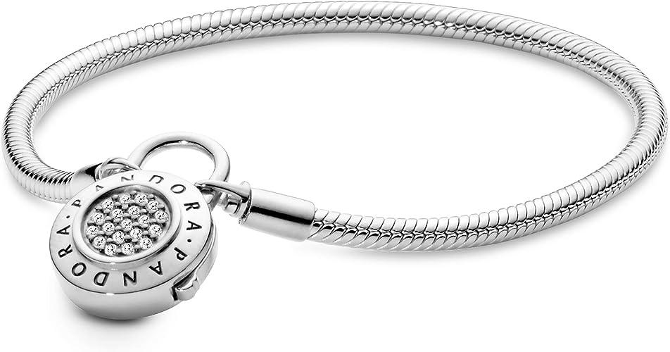 Pandora Jewelry Smooth Pandora Padlock Clasp Cubic Zirconia Bracelet in  Sterling Silver