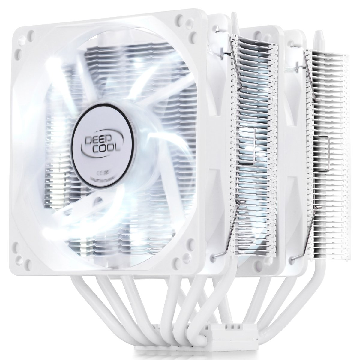 DeepCool NEPTWIN white version CPU Cooler 6 Heat pipes Twin-tower Heatsink Dual 120mm white LED Fans (NEPTWIN WHITE), AM4 Compatible by DEEP COOL