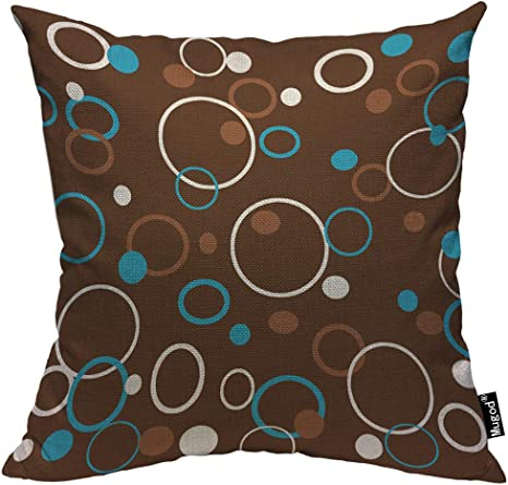 Amazon Com Mugod Circle Pattern Throw Pillow Case Dots Circles And Rings Colored Brown Blue White Decorative Cotton Linen Square Cushion Covers Standard Pillowcase Couch Sofa Bed Men Women 18x18 Inch Home Kitchen