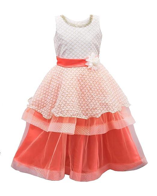 3ec85573ab945 My Lil Princess Baby Girls Birthday Party wear Frock Dress Peach ...