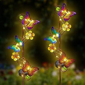 Solar Garden Lights 2 Pack Outdoor Butterfly Garden Decor Waterproof Butterfly Solar Stake Lights for Garden,Lawn,Patio or Courtyard