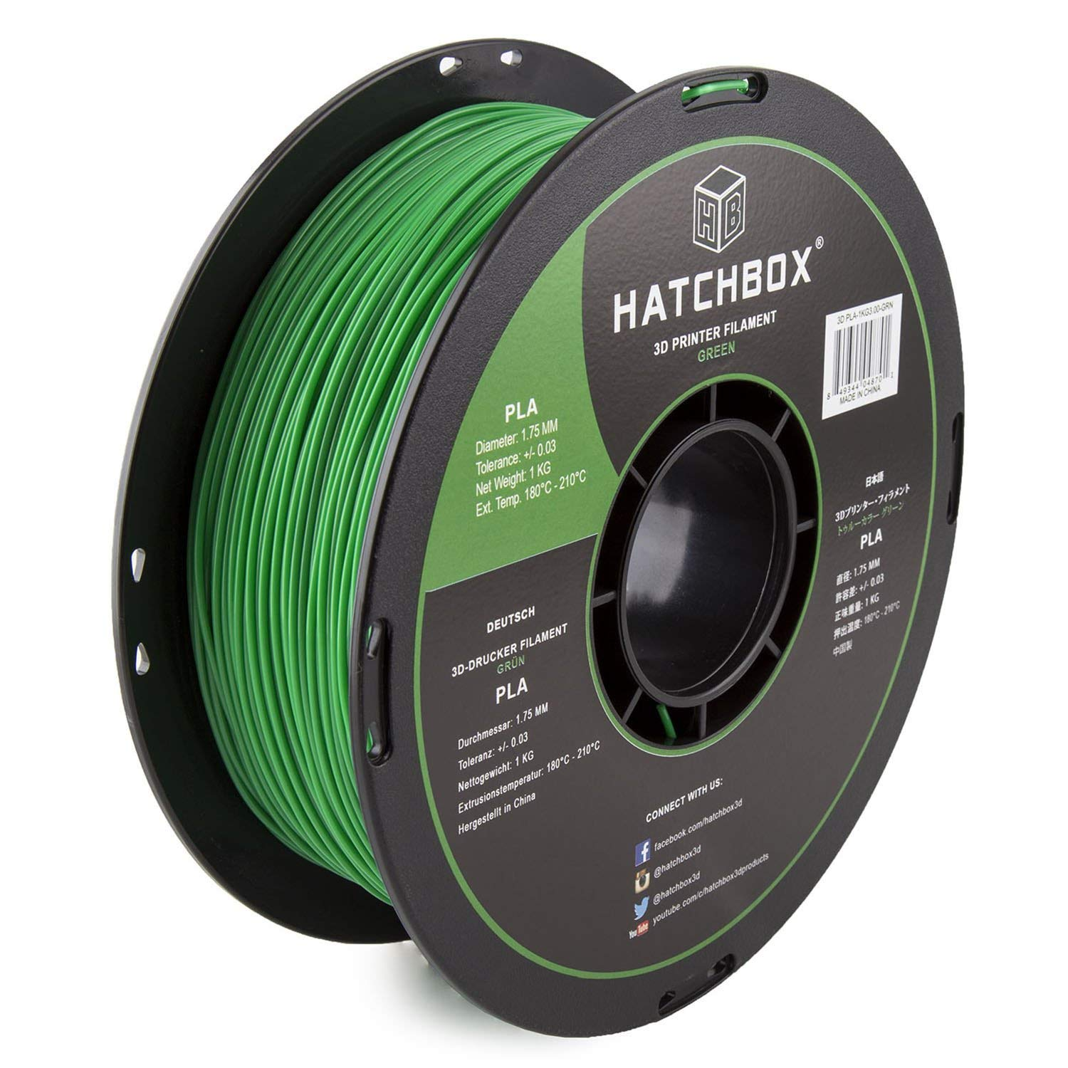 HATCHBOX PLA 3D Printer Filament, Dimensional Accuracy +/- 0.03 mm, 1 kg Spool, 1.75 mm, Green