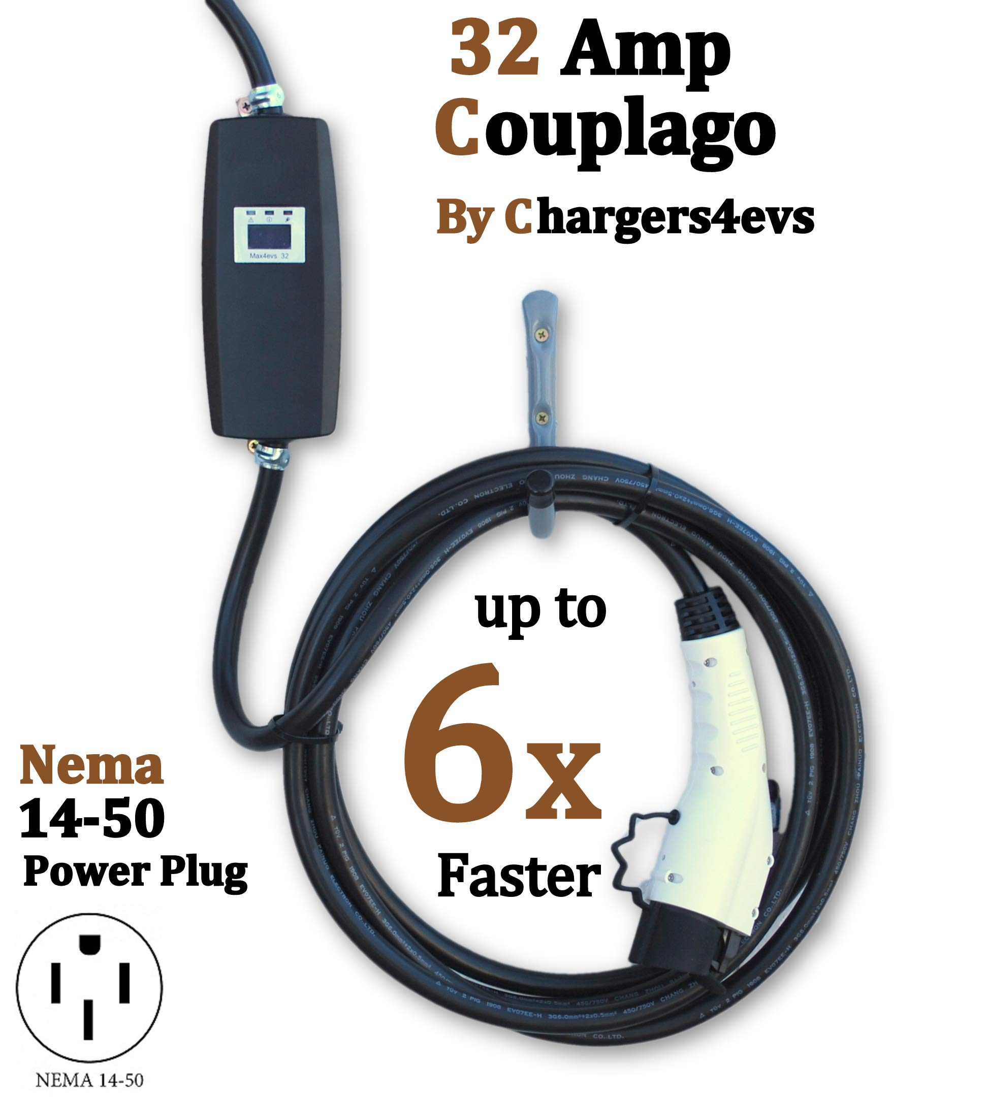 Couplago Max4evs, 32 AMP (7.68 KW) 240V Heavy Duty Charging Station, Level 2- EVSE- Charger for Electric Vehicles, 3 in 1 Charger,You Set The AMPS- 32 AMP, 16 AMP or 10 AMP - NEMA 14-50 Plug by Couplago