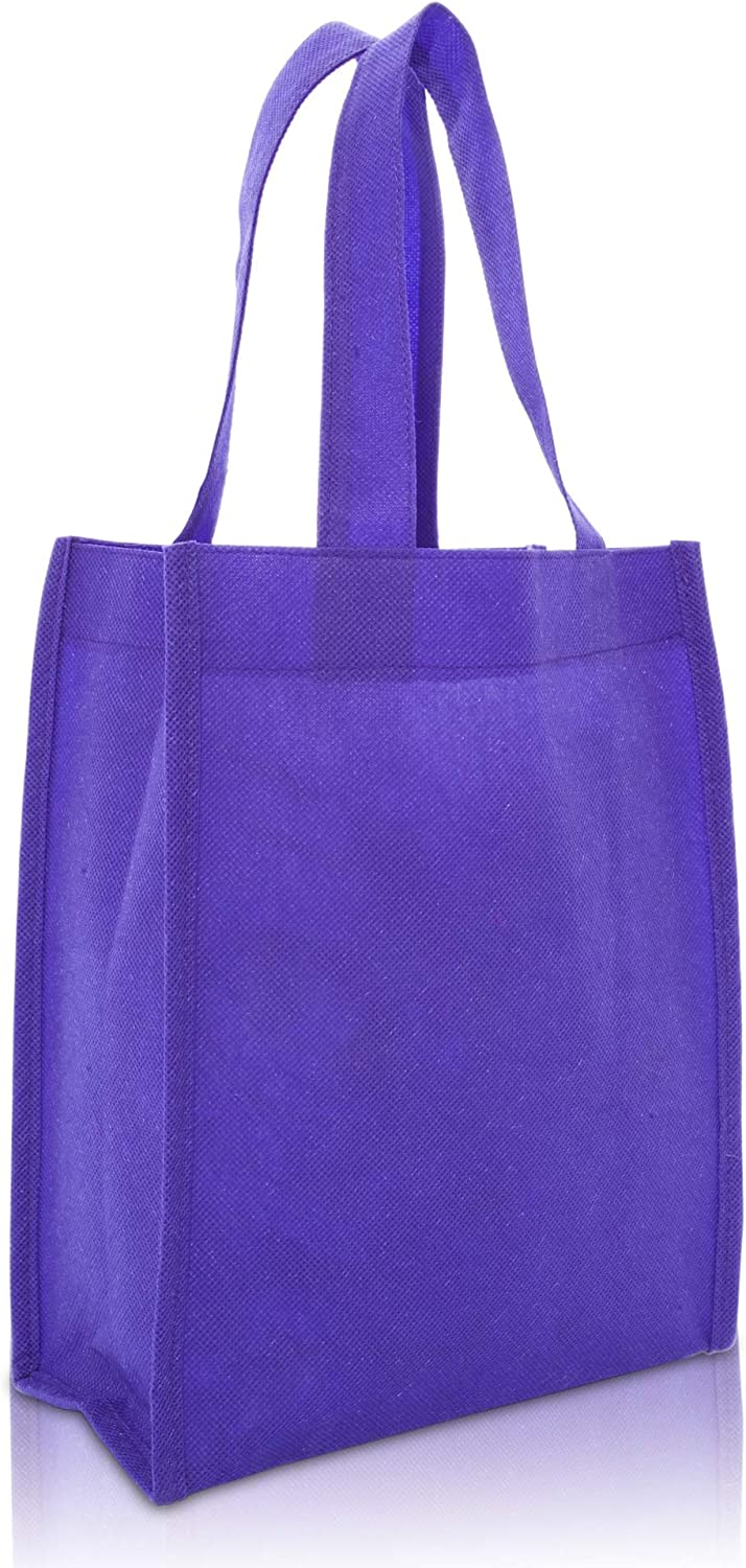"DALIX 10"" Mini Shopping Totes Small Resuseable Bags for Women and Children in Purple-10 PACK"