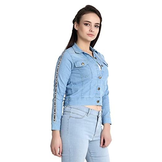 DIMPY GARMENTS BuyNewTrend Stone Wash Denim Blue Jacket for Women
