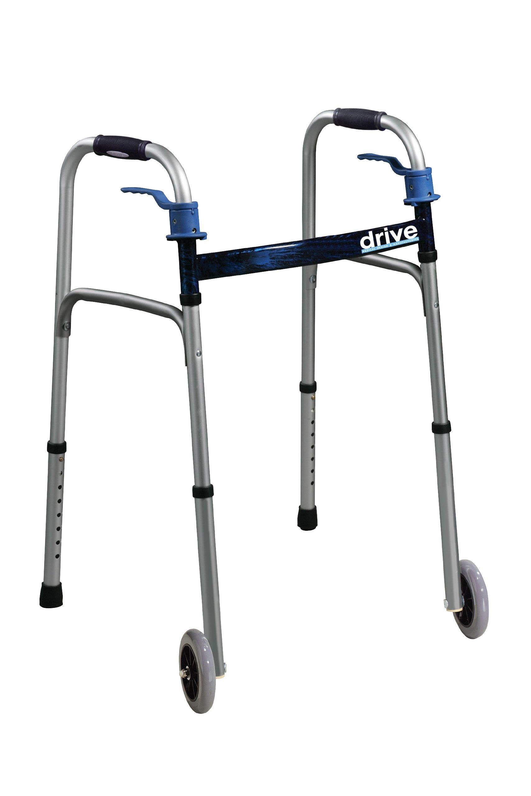 Drive Medical Trigger Release Folding Walker, Brushed Steel by Drive Medical