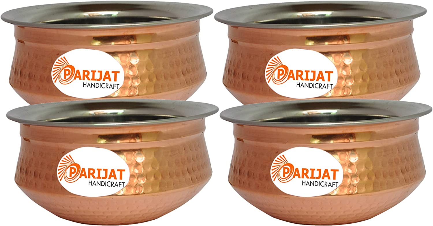 PARIJAT HANDICRAFT Serving Bowl Tureen Copper Stainless Steel Serving Dishes for Appetizers, Set of 4