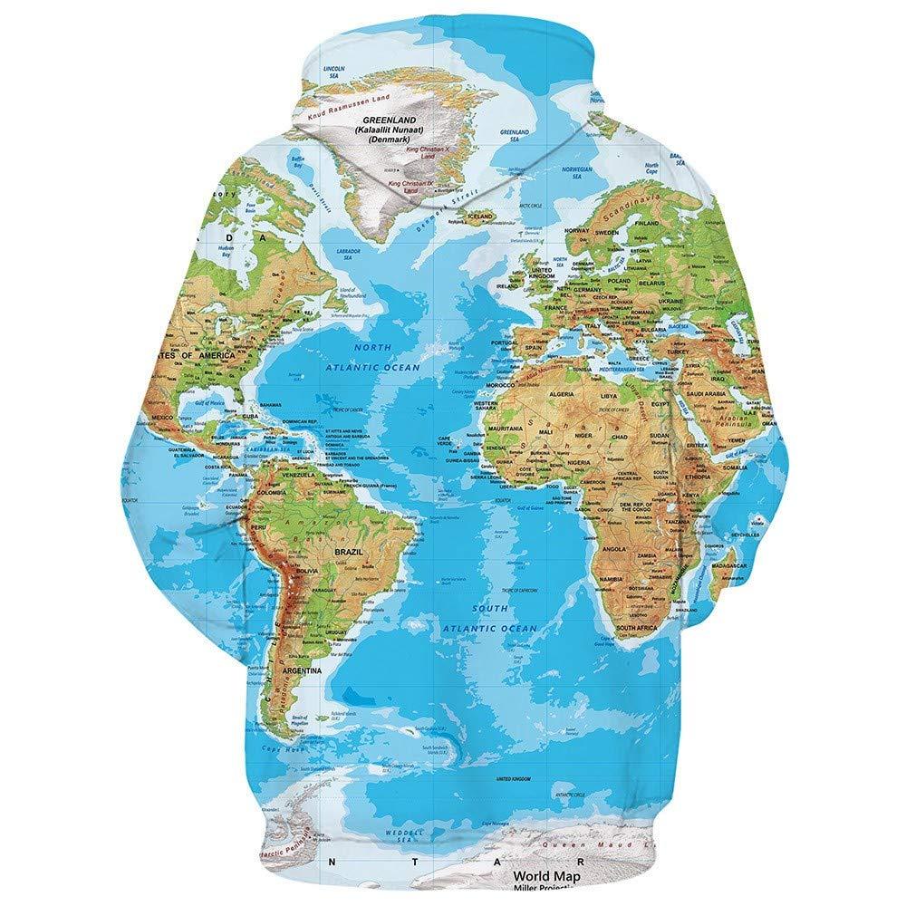 WHLWY Sudaderas con Capucha Suéter Casual De Moda Suéter De Sudadera con Capucha con Impresión Digital 3D Mundo Cómodo: Amazon.es: Deportes y aire libre