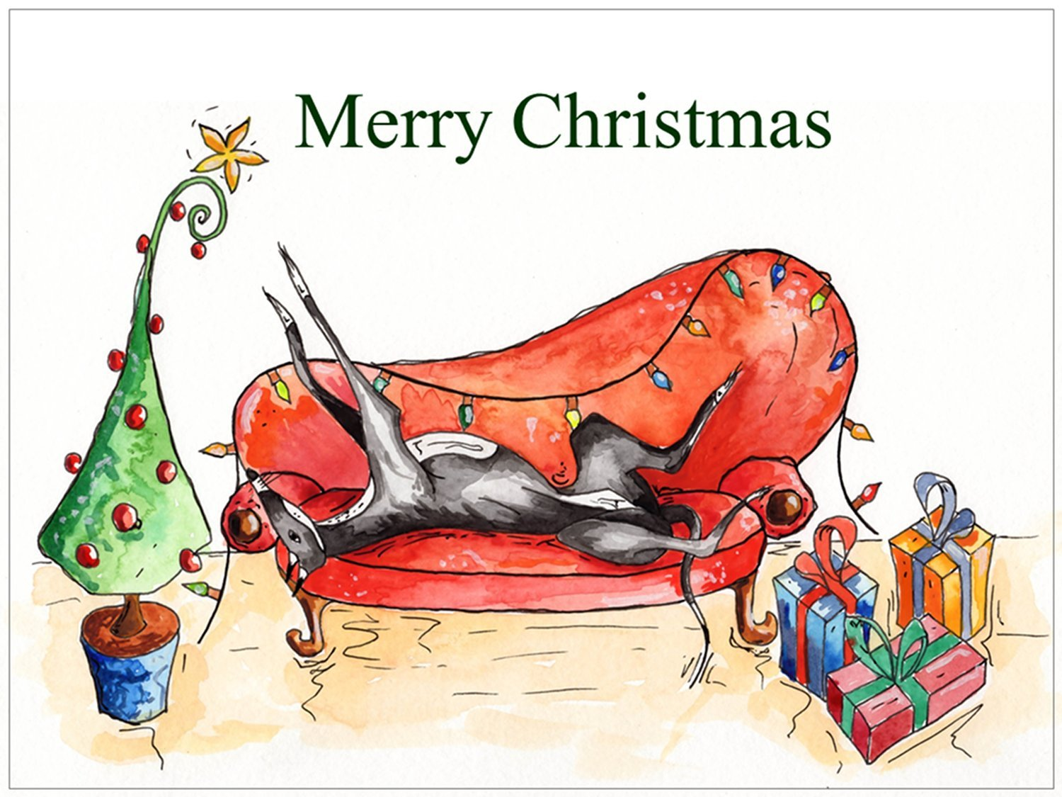 Pack of 12 - Christmas Cards (Xmas Cards) Greyhound Whippet Lurcher ...