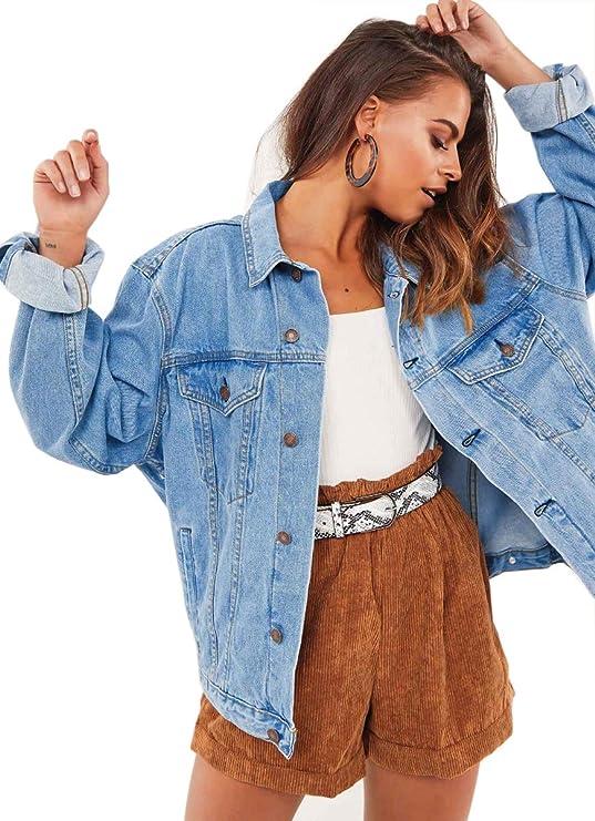 Oversized blue jean jacket for women | Vamp your wardrobe w/ an oversized boyfriend denim jacket