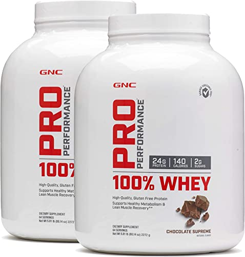 GNC Pro Peformance 100 Whey Protein Powder – Chocolate Supreme, Twin Pack, 64 Servings per Bottle, Supports Lean Muscle Recovery