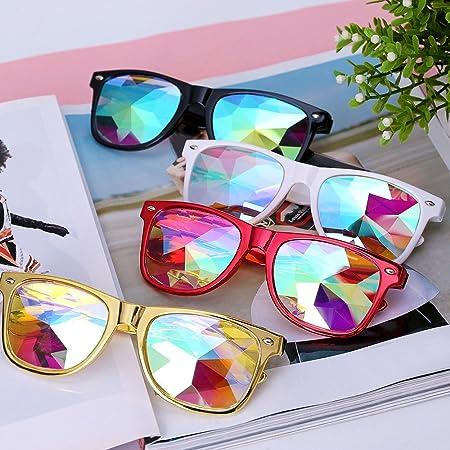 Hunpta Kaleidoscope Lunettes Festival fête EDM Lunettes de soleil Diffracted objectif, blanc
