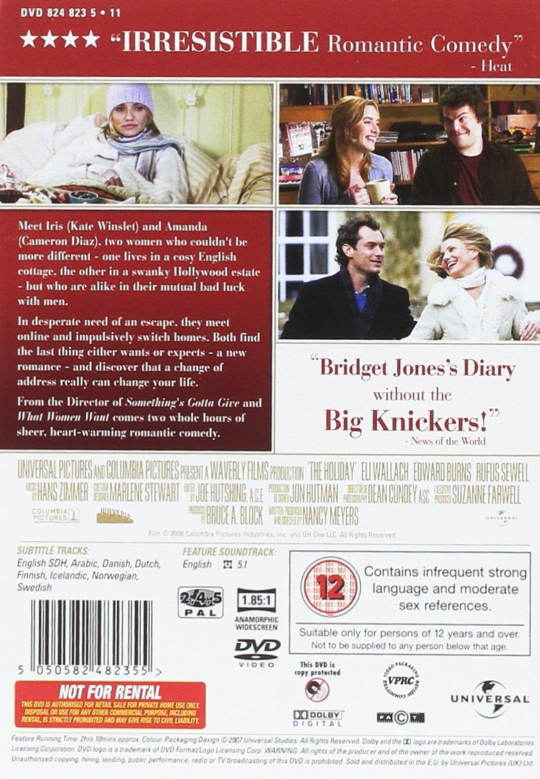 The Holiday [Import anglais]: Amazon.fr: Kate Winslet, Jude Law, Cameron  Diaz, Jack Black, Virginia Dale: DVD & Blu-ray