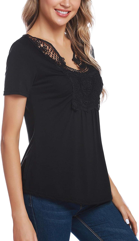 Aibrou T-Shirt Donna in Pizzo Blusa Elegante Manica Corta Scollo a V Elegante Casual per Primavera Estate Autunno
