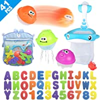 Bath Toy Sets, 36 Foam Bath Letters and Numbers, Floating Squirts Animal Toys Set with Fishing Net and Organizer Bag, Fish Catching  Game for Babies Infants Toddlers Bathtub Time
