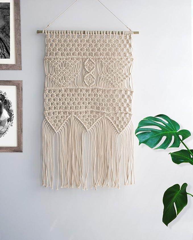 Macramé colgar en la pared Boho perchero de boda algodón ...