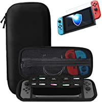 Nintendo Switch Carry Case + Premium Tempered Glass Screen Protector, Portable Protective Hard Shell Cover Travel Storage Bag with 10 Game Cartridge for Nintendo Switch Console & Accessories (Black)