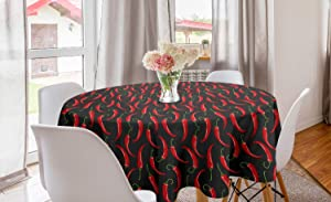 Ambesonne Vegetable Round Tablecloth, Culinary Hot Spice Chilli Peppers Cuisine Organic Food Cooking Theme, Circle Table Cloth Cover for Dining Room Kitchen Decoration, 60