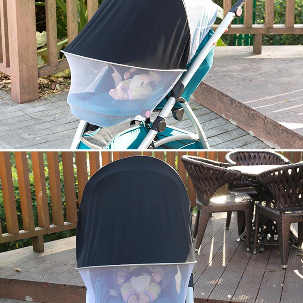 Stroller Sun Shade - Leegoal Double Use Baby Mosquito Net with White Mesh Less Than 1mm for Baby Stroller,UV Protection, Bugs, Dust, Adjustable Shed