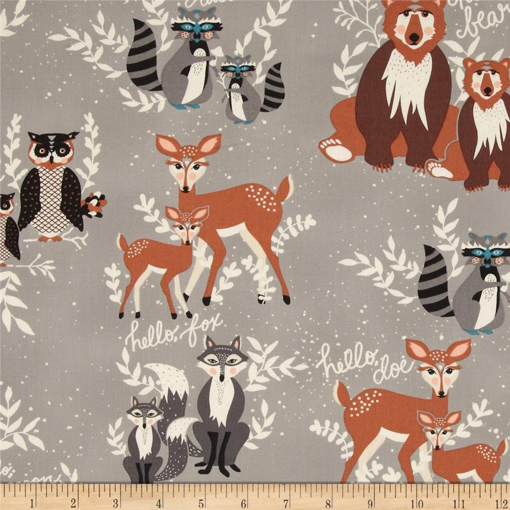 Fabric with Deer Heads Gray Woodland Fabric Bundle Hello Bear Quilting Bundle Woodland Fabric for Quilts Bonnie Christine AGF