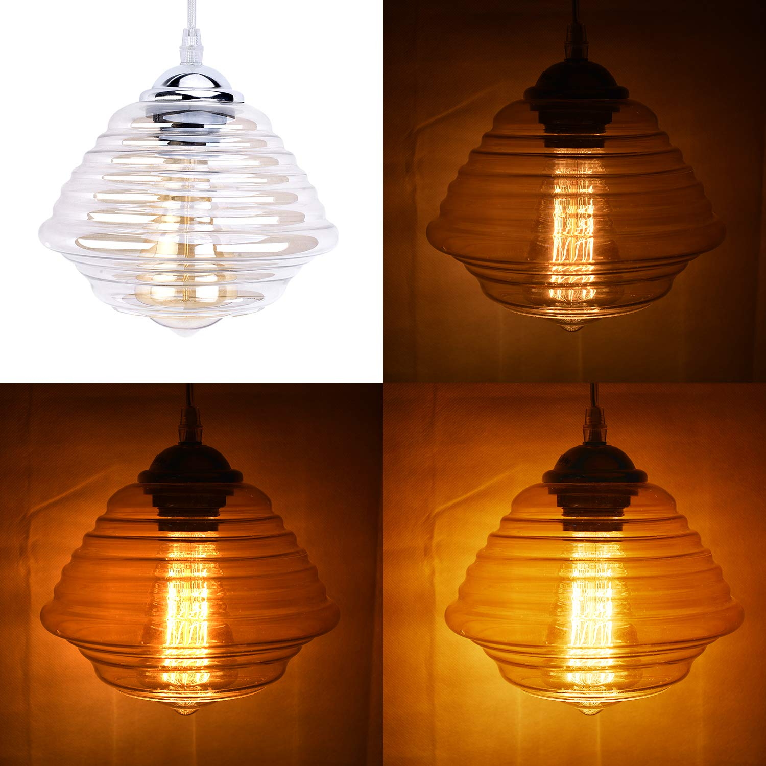 Stepeak Modern Glass Decor Cords Hanging Lighting with Plug in Cord 16.4 and on Off Dimmer Switch, Swag Pendant Lamps for Bedroom Kitchen Dinning Room
