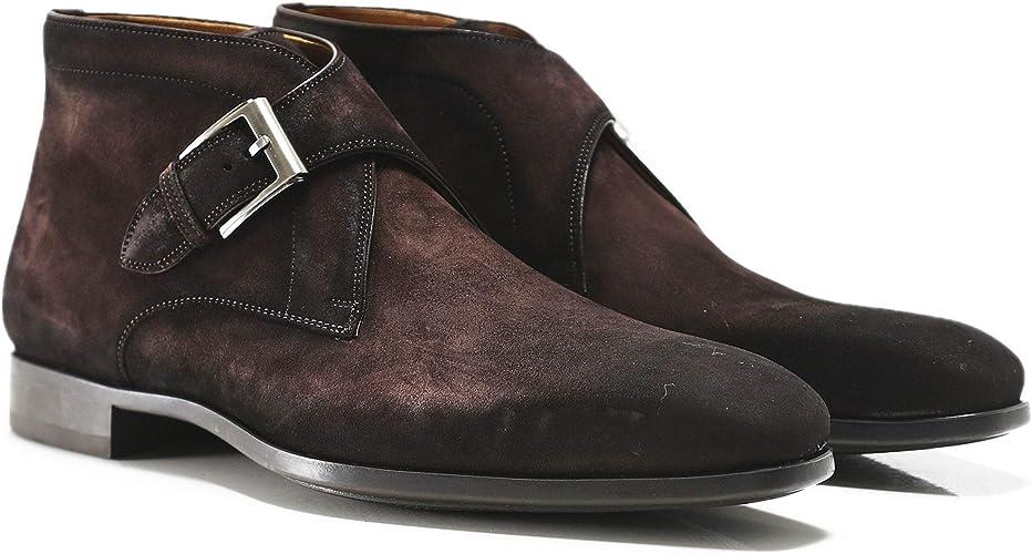 Suede Monk Strap Boots Dark Brown