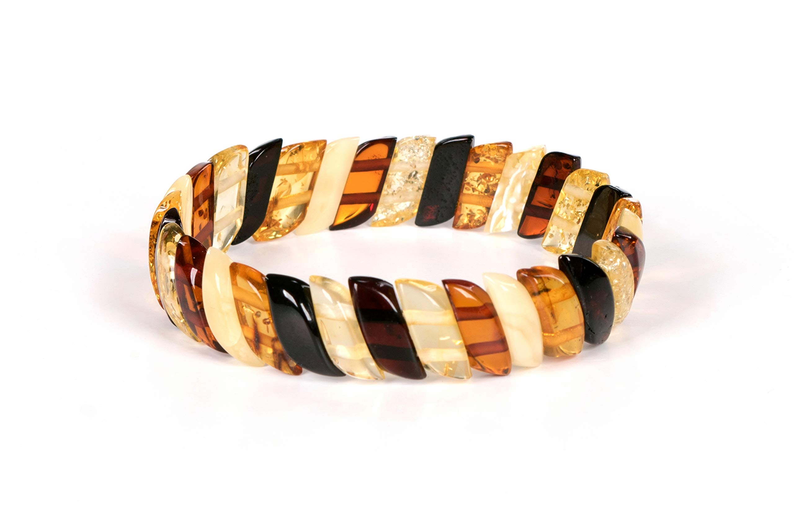 AMBERAGE Natural Baltic Amber Stretch Bracelet for Women - Hand Made from Polished/Certified Baltic Amber Beads(Multi) by AMBERAGE