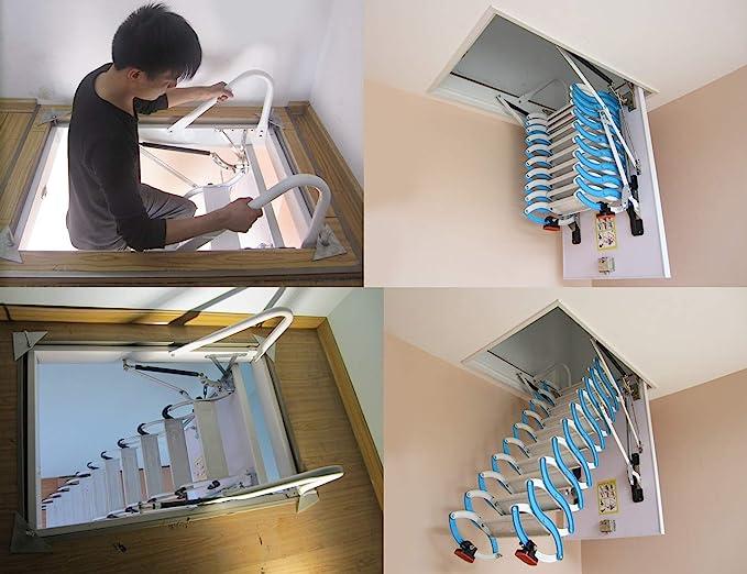 Escalera telescópica del ático invisible Escaleras plegables en el ...