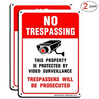 Amazon.com: Video Surveillance Sign(2 Pack), No Trespassing ...