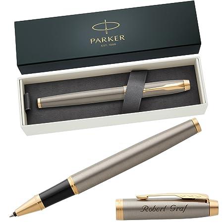 PARKER Tintenroller IM Brushed Metal G.C. 1931663 mit persönlicher Laser-Gravur