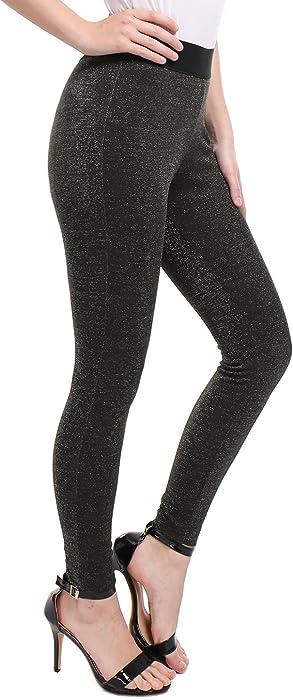 90ec2d58438a0 Allegra K Women's Elastic Waistband Full Length Glitter Leggings S Black