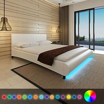 WEILANDEAL Cama con LED de Cuero Artificial Blanca 160x200 cm Camas Tamano Adecuado del colchon: 200 x 160 cm (el colchon no Esta Incluido): Amazon.es: ...