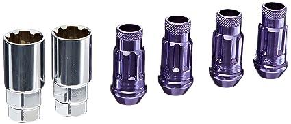 Wheelmate 32901L Muteki SR48 Open End Locking Lug Nut Set of 4 48mm Purple 12 x 1.25