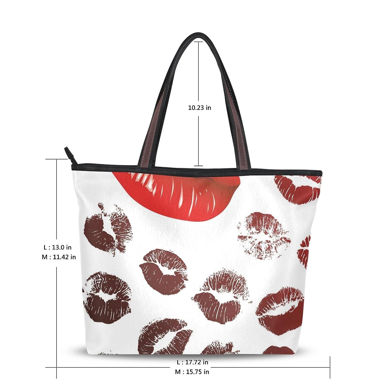 Women Large Tote Top Handle Shoulder Bags Lips Ladies Handbag