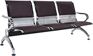walsport Airport 3 Seats Waiting Chair PU Leather Reception Chair for Waiting Room, Office, Bank, Hospital Bench, Brown Silver