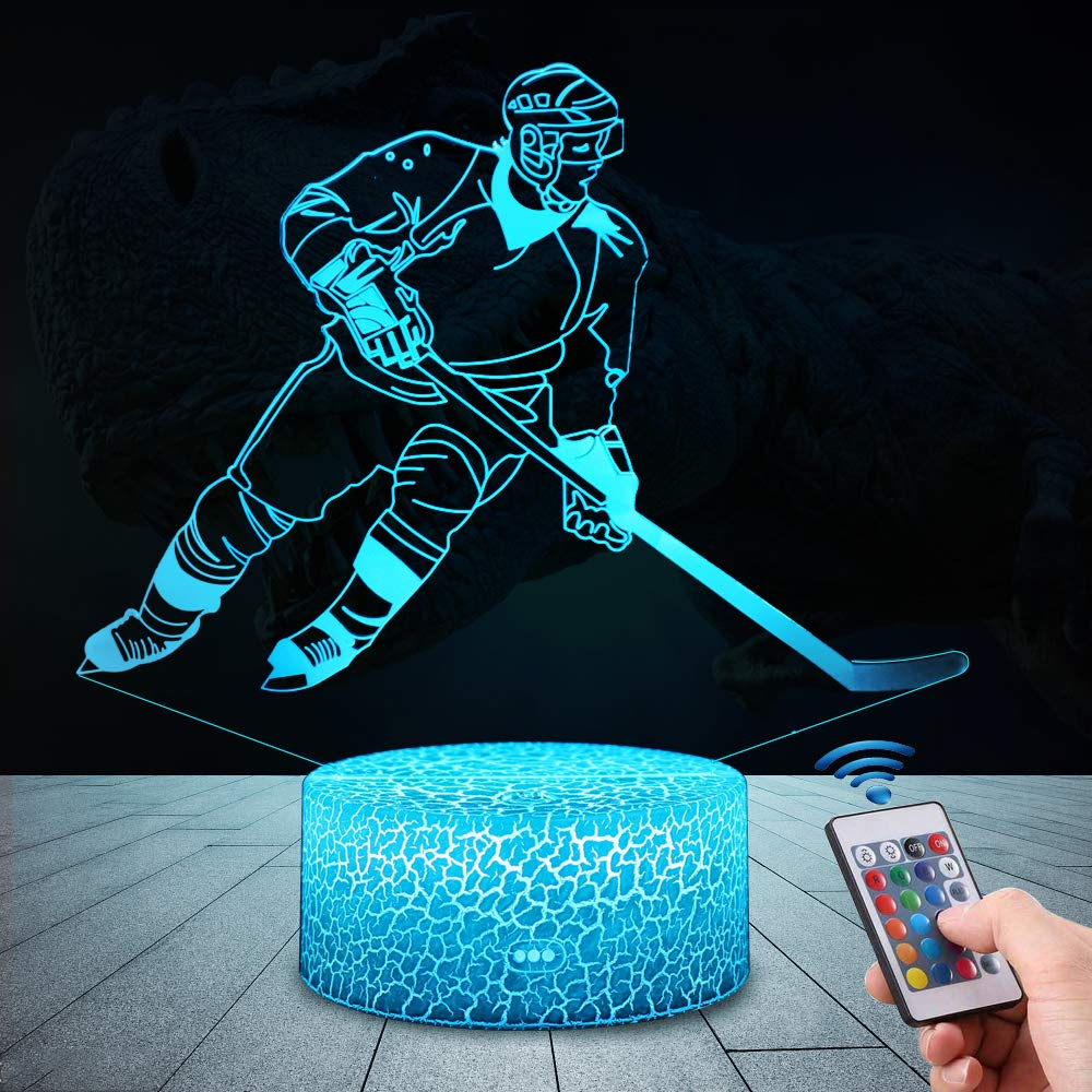 USlinsky 3D Dinosaur Gifts Toys Decor LED Night Light with Remote Control, 7 RGB Colours Bedside Lamp, Smart Touch Adjustable Brightness, Birthday Present Decoration for Baby Boy Girl Kids Women Men