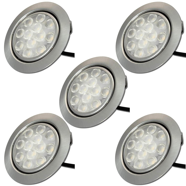 5 Stück LED Möbeleinbaustrahler Lotta 12 Volt 3 Watt inkl. Kabel mit Mini Stecker und Mini Verteiler