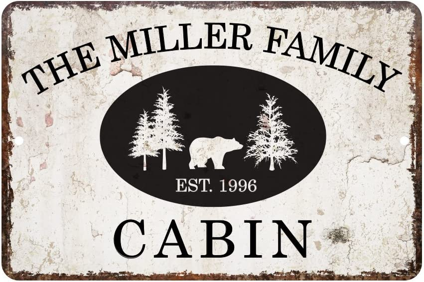 Pattern Pop Personalized Vintage Distressed Look Cabin Metal Room Sign