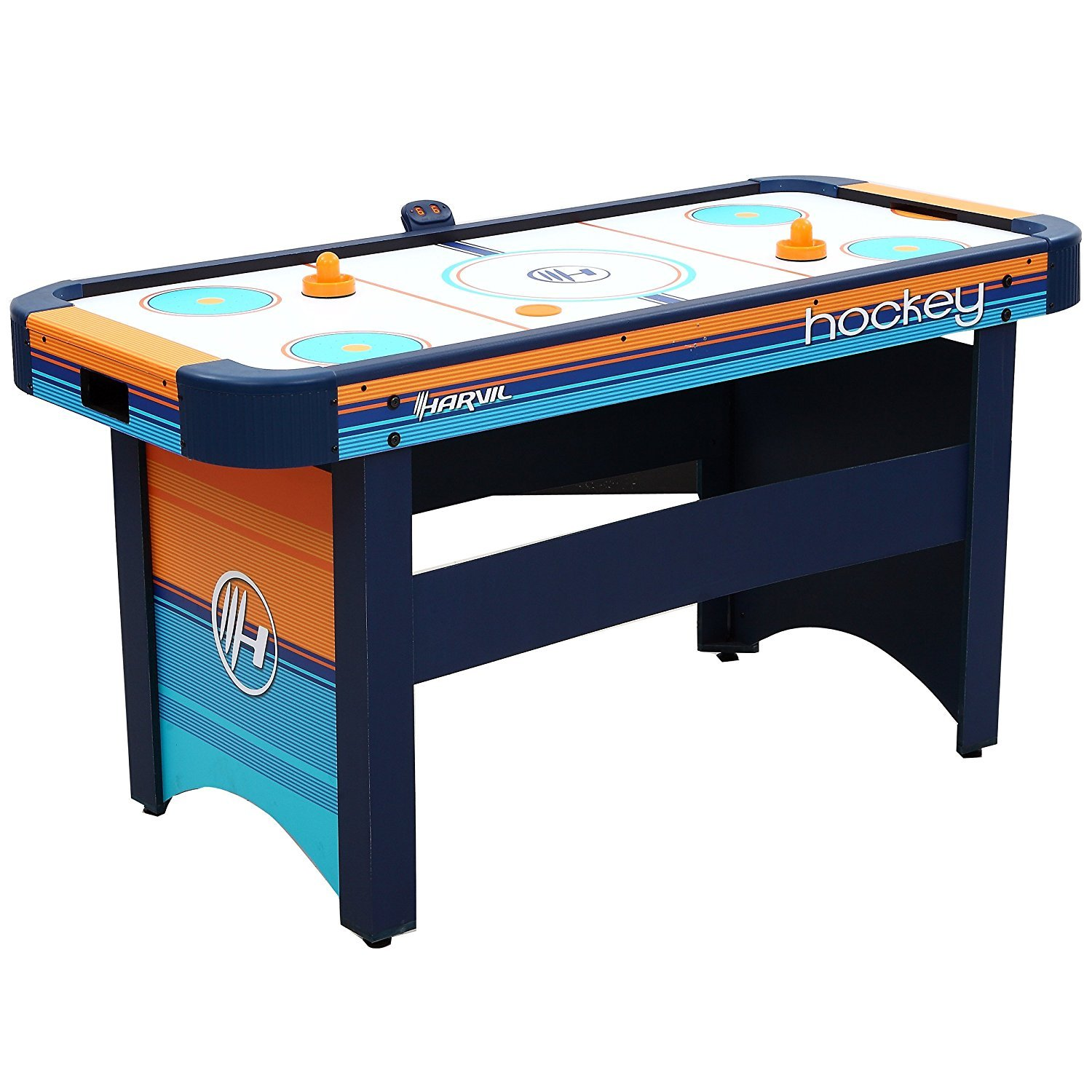 Harvil 5 Foot Air Hockey Table for Kids and Adults with Dual Electric Blowers, Leg Levelers and Free Pushers and Pucks