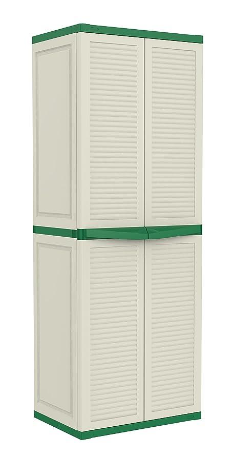 Keter Basic Louvre Three Shelf Plastic Multi-Purpose Cabinet, 65 x ...