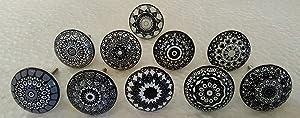 DORPMARKET Set of 20 Black Ceramic Porcelain Pottery Cabinet knob Drawer pulls Furniture Handles Shabby Chic Vintage