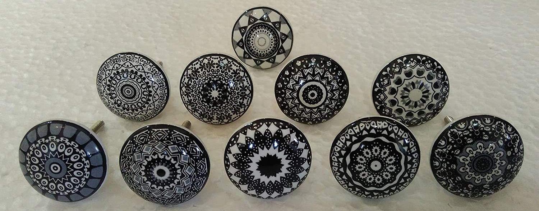 Set of 10 Black Ceramic Porcelain Pottery Cabinet knob Drawer pulls Furniture Handles Shabby Chic Vintage JGARTS