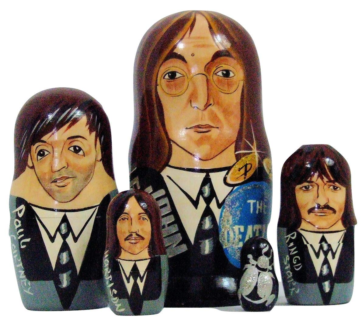 5pcs Hand Painted Russian Nesting Doll of The Beatles Large ( 7 inches Tall) by Olga's Russian Collectibles