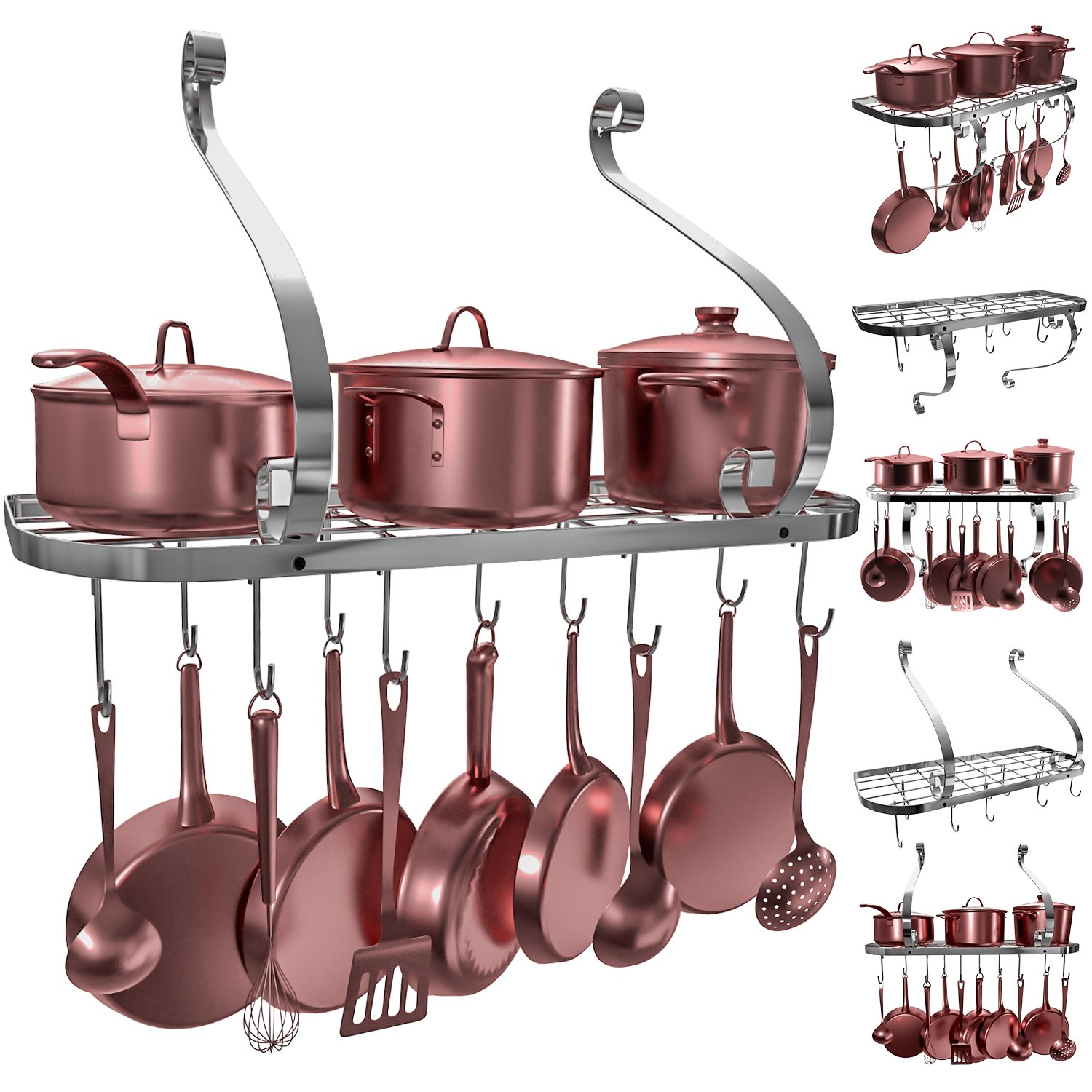 VDOMUS Square Grid Wall Mount Pot Rack, Bookshelf Rack with 10 Hooks, Kitchen Cookware, 24 by 10-inch (Sliver) by Vdomus (Image #1)