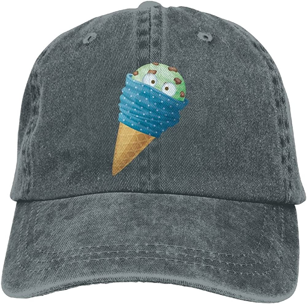 Denim Baseball Cap Cartoon Ice Cream with Face Summer Hat Adjustable Cotton Sport Caps