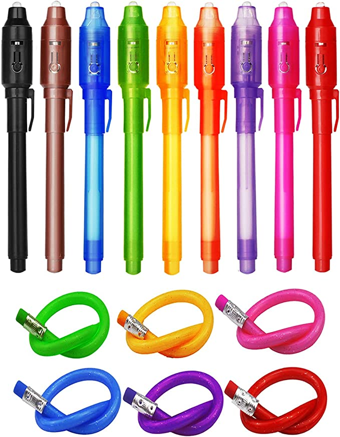 TAGVO 14x Invisible Ink Pens and 5X Finger Lights 2019 Upgraded Spy Pen with UV Light Magic Marker Goodies Bag Toys for Fun Kids Birthday Party Bag Fillers