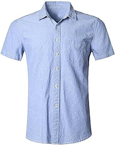 SOOPO Camisa Hombre Manga Corta Camisa Unicolor Estampada Camisa de Vestir Camiseta Casual, Diversos Estilos y Tallas: Amazon.es: Ropa y accesorios