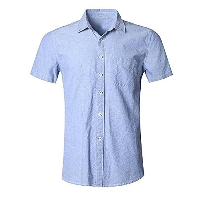 416de900b SOOPO Camisa Hombre Manga Corta Camisa Unicolor Estampada Camisa de Vestir  Camiseta Casual