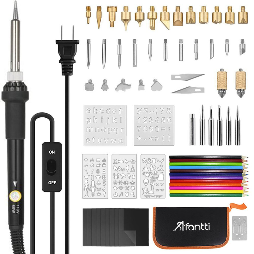 Wood Burning Kit, Afantti 70 Pcs Adjustable Wood Burning Soldering Iron Pen Tool Kit Set Creative Pyrography Woodburning Burner Electric for Adult Starter Beginner Craft with Case