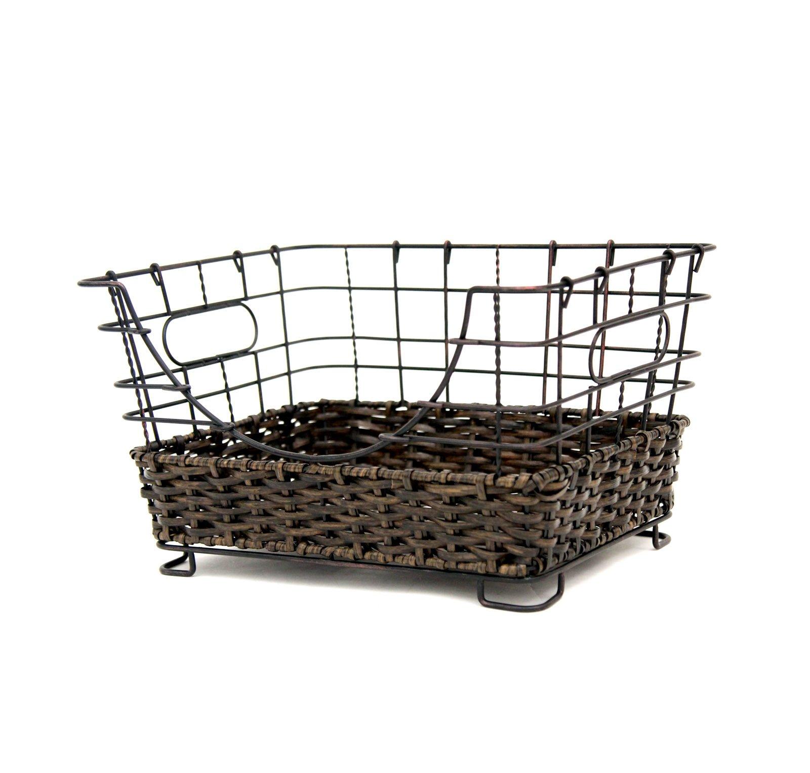 Mesa 1 Piece Antique Black Grid Metal Basket with Rustic Woven Accents Finished: Antique Black by Vanderbilt Home